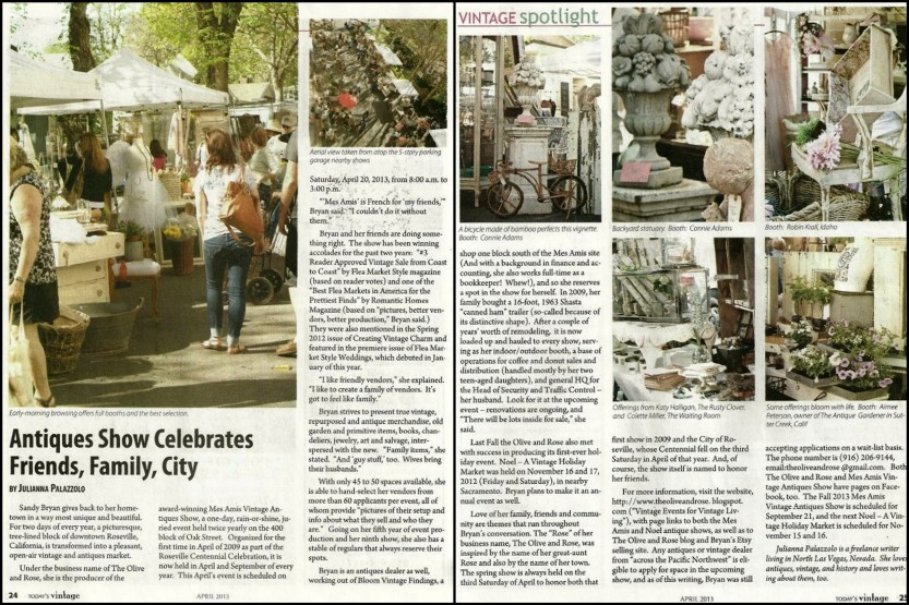 Mes Amis Todays Vintage April 2013 Article